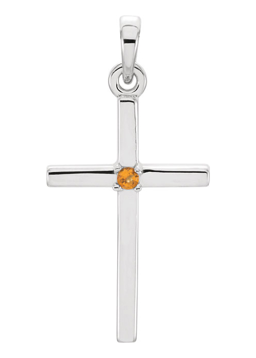 Solitaire Citrine Cross Necklace, 14K White Gold
