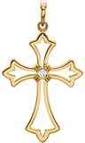 Diamond Budded Cross Pendant in 14K Gold