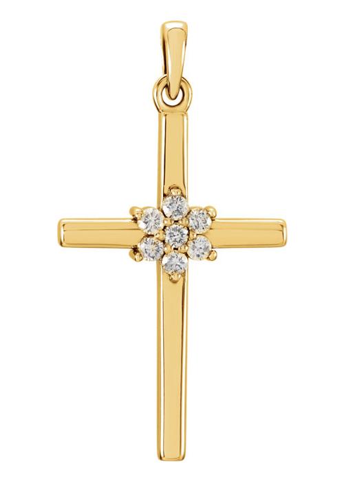 Diamond Flower Cross Pendant, 14K Yellow Gold