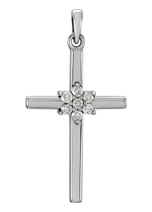 Diamond Flower Petal Cross Necklace, 14K White Gold