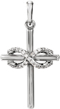Diamond Infinity Cross Necklace in 14K White Gold