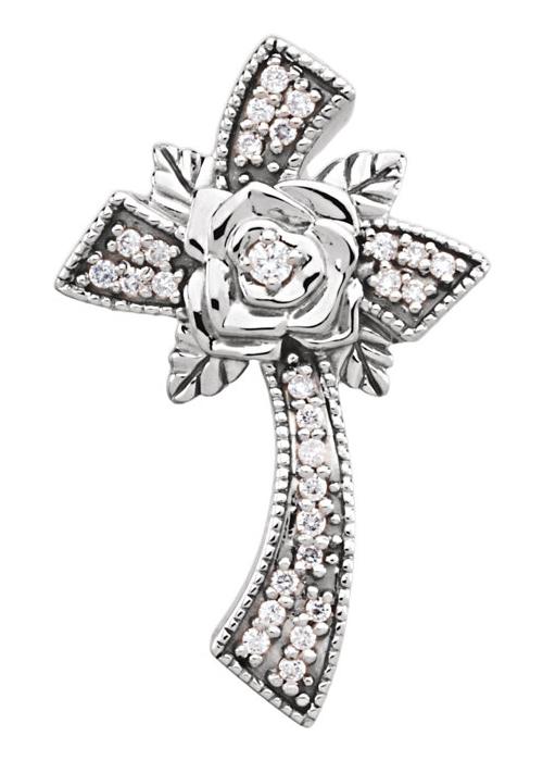 Diamond Rose Cross Necklace, 14K White Gold