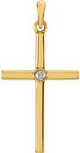 Solitaire Diamond Cross Pendant, 14K Yellow Gold