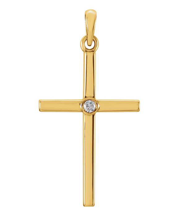 Solitaire Diamond Cross Pendant, 14K Yellow Gold