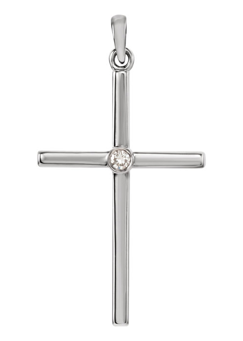 Diamond Solitaire Cross Necklace, 14K White Gold