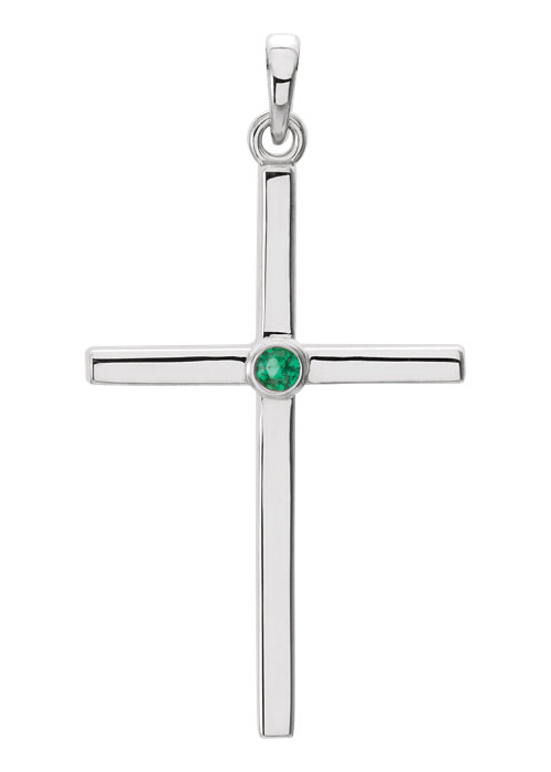 Emerald Solitaire Cross Necklace, 14K White Gold