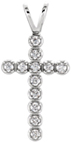 Faith Saves Diamond Cross Pendant, 14K White Gold
