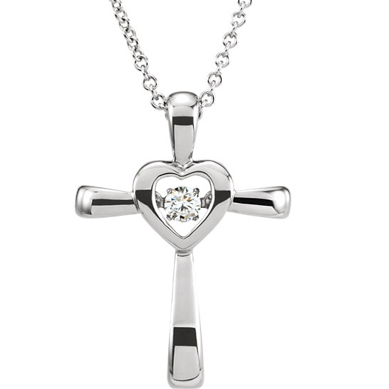 God is Love Diamond Heart and Cross Necklace
