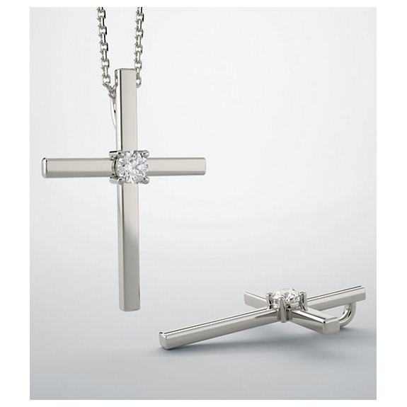 He Died for My Sins Diamond Cross Necklace, 14K White Gold