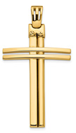 Men's Italian Cross Necklace Pendant in 14K Yellow Gold