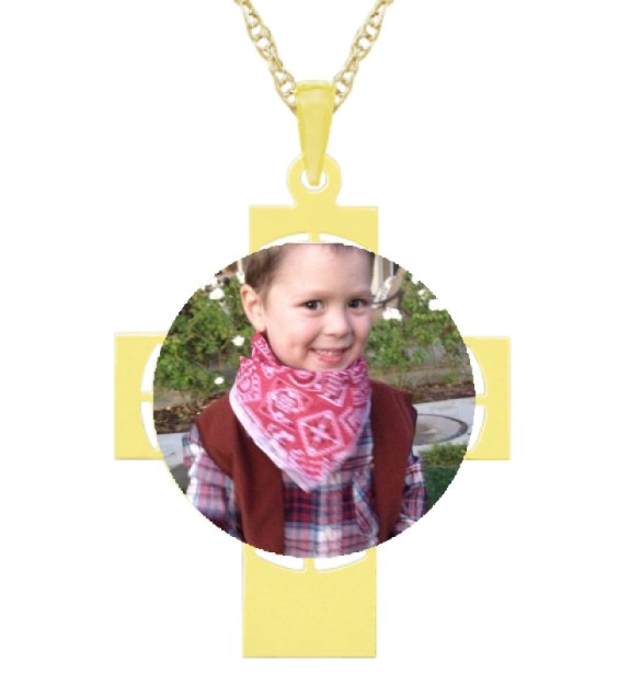 Personalized Picture Photo Cross Necklace in Gold