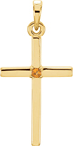 Plain Citrine Cross Pendant, 14K Yellow Gold