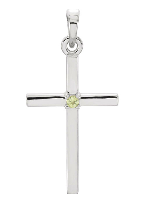 Plain Peridot Cross Necklace, 14K White Gold