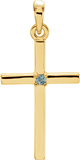 Polished Genuine Alexandrite Cross Pendant, 14K Gold