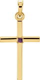 Polished Amethyst Cross Pendant, 14K Gold