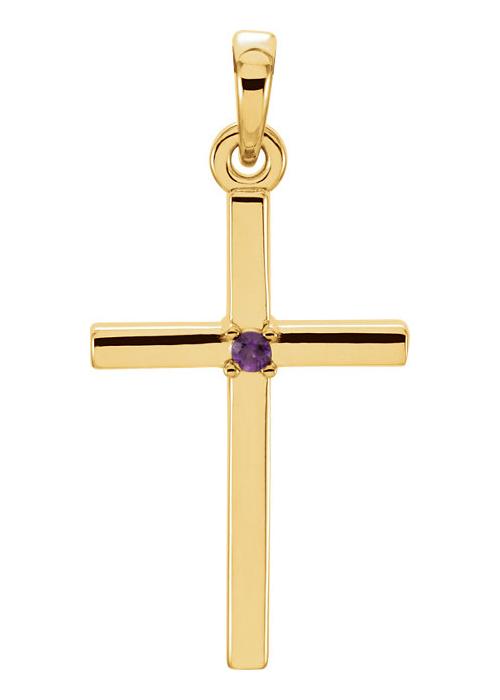 Polished Amethyst Cross Pendant, 14K Gold