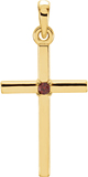 Plain Garnet Cross Pendant, 14K Gold