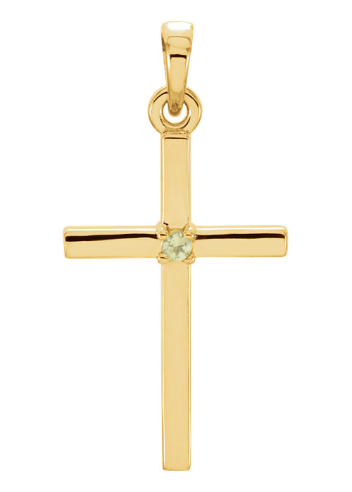Polished Peridot Cross Pendant, 14K Gold