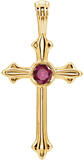 Fluerie Design Ruby Cross Pendant, 14K Gold