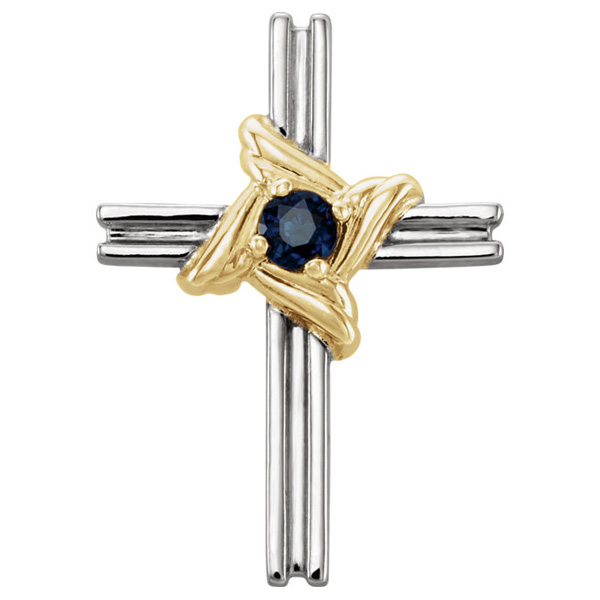 Small Sapphire Cross Pendant Necklace, 14K Two-Tone Gold