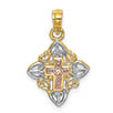small 14k gold tri-color cross in heart frame charm pendant