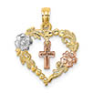 small 14k gold tri-color heart flower cross pendant necklace