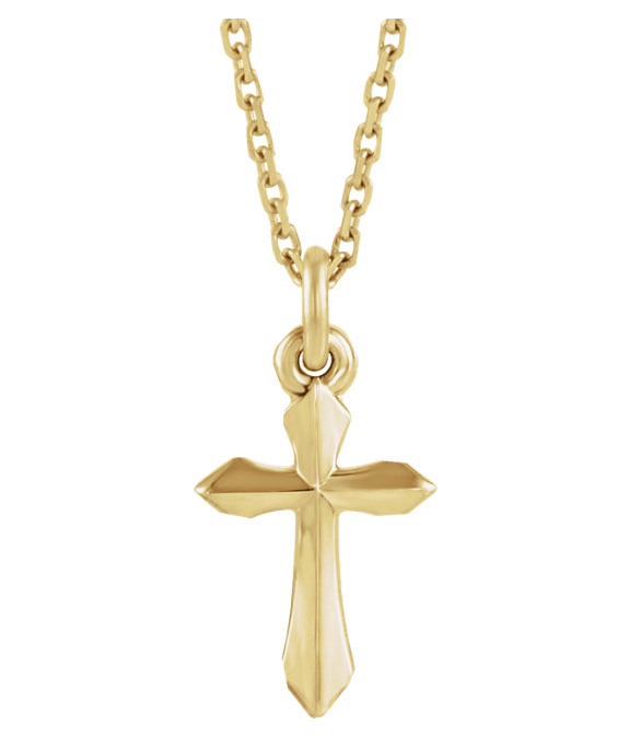 Small Sword of the Spirit Cross Necklace for Women, 14K Gold