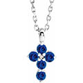 small tiny 5-stone blue sapphire cross necklace 14k white gold