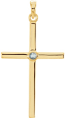 Solitaire Aquamarine Cross Pendant, 14K Yellow Gold