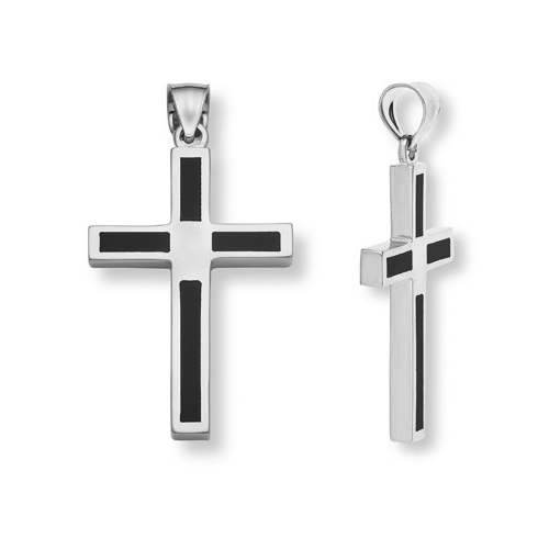 Sterling Silver Women's Black Onyx Cross Necklace