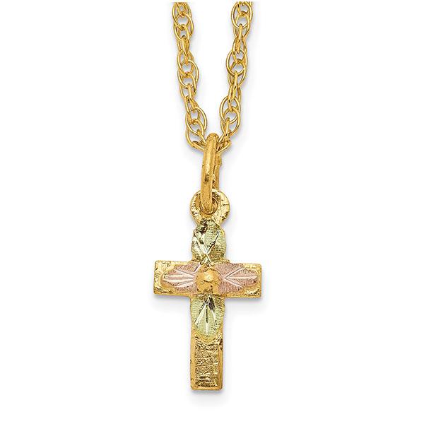 Tiny 10K Tri-Color Black Hills Gold Cross Necklace