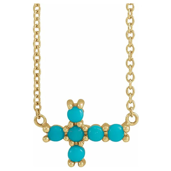 turquoise sideways cross necklace, 14k gold