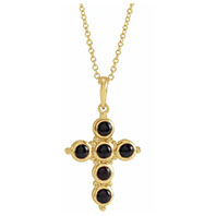 women's 14k gold black onyx cross necklace