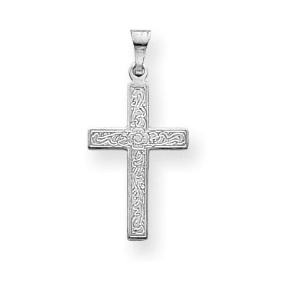 Women's Flower Cross Necklace Pendant in 14K White Gold