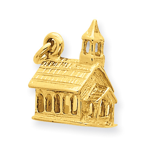 14K Gold Church Charm Pendant in 3D
