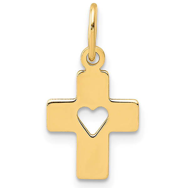 Small Cross Pendant with Cut-Out Heart in 14K Gold