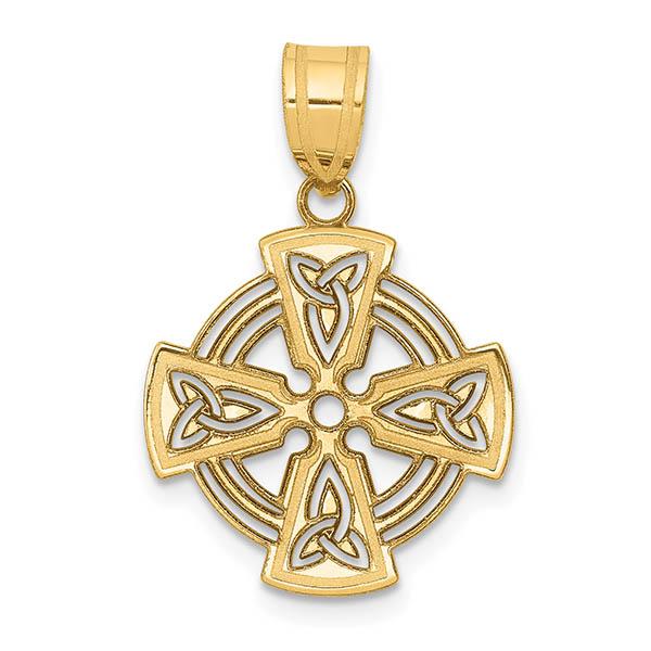 14k gold small maltese celtic cross pendant for women