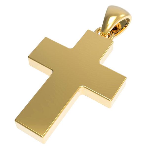 14K Solid Gold Thick Plain Cross Pendant