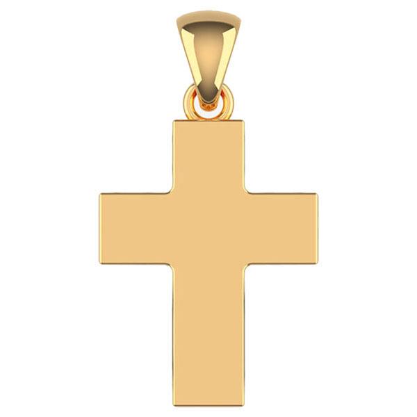14K Solid Gold Plain Thick Cross Pendant