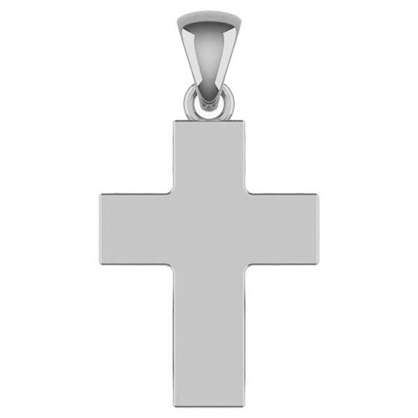 Platinum Plain Polished Wide Cross Pendant