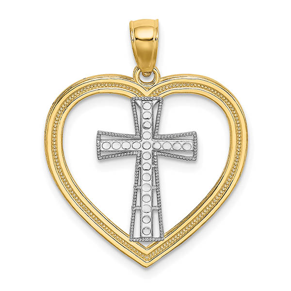 14k two-tone gold heart and cross necklace pendant