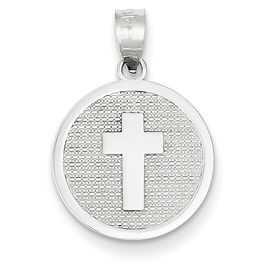 14K White Gold Cross Disc Charm Pendant with