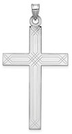 14K White Gold Laser Etched Cross Pendant