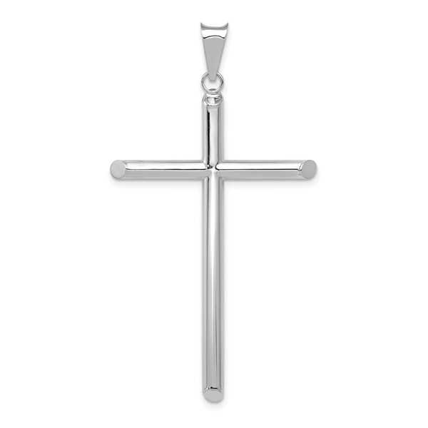 14K White Gold Tube Cross Pendant Necklace