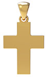 18K Solid Gold Plain Polished Wide Cross Pendant