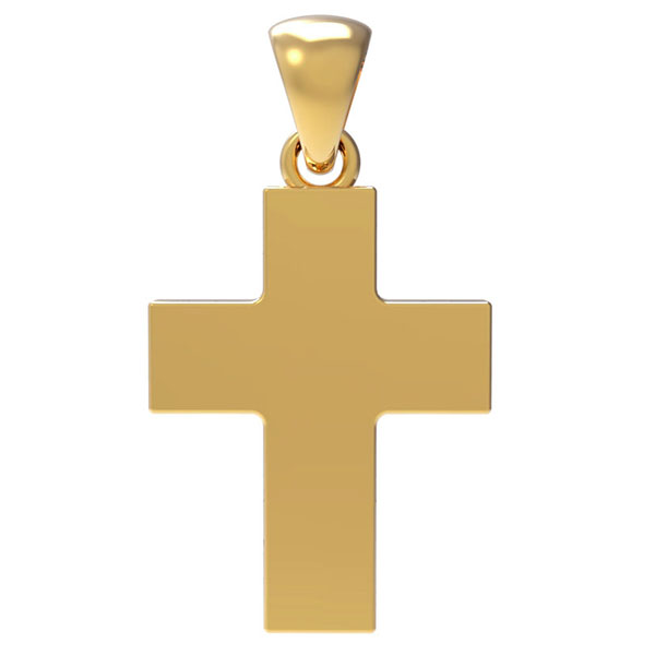 18K Solid Gold 3mm Thick Plain Polished Cross Pendant