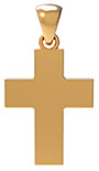 22K Solid Gold Thick Plain Cross Pendant