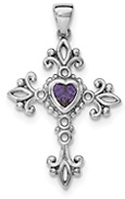 Amethyst Heart Cross Necklace in Sterling Silver
