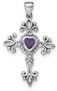 Amethyst Heart Cross Necklace in Sterling Silver