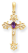 Amethyst Trinity Design Cross Pendant, 14K Gold